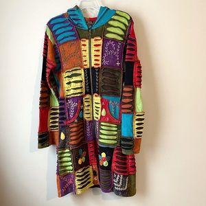 Hippie Boho Patchwork Hoodie Long Jacket